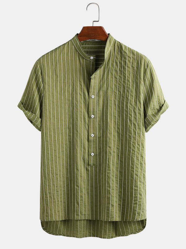Mens Soft & Breathable Wrinkled Vertical Pinstripe Casual Henley Shirt