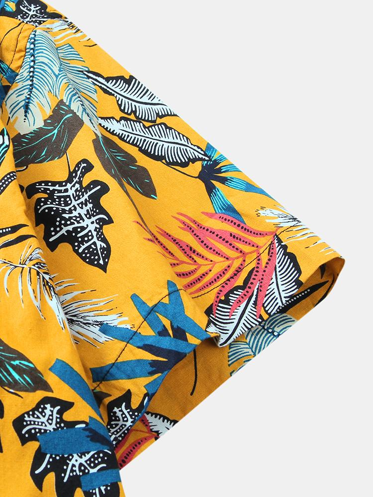 Mens Fashion Designer Plant printed Loose Short Sleeve Shirts