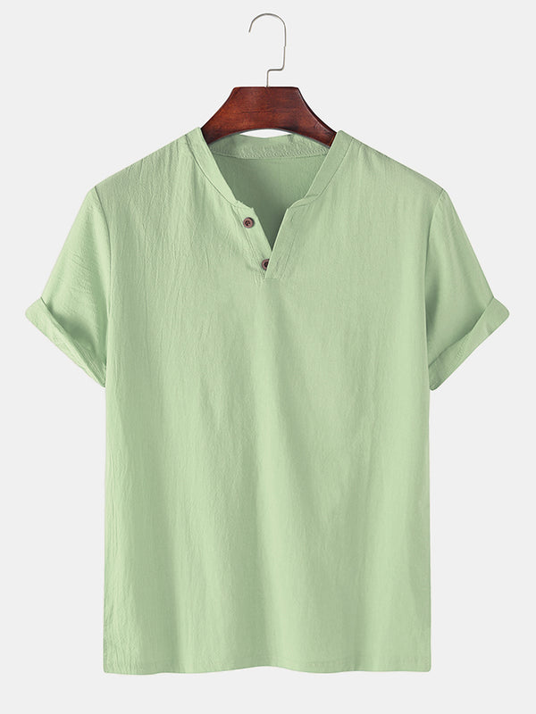Men 100% Cotton Solid Color V-neck Casual T-Shirt