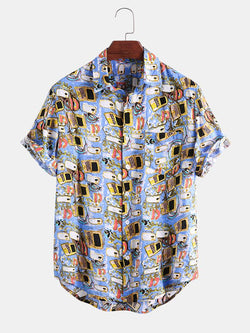 Mens Funny Cartoon Printed Casual Chest Pocket Short Sleeve Shirt