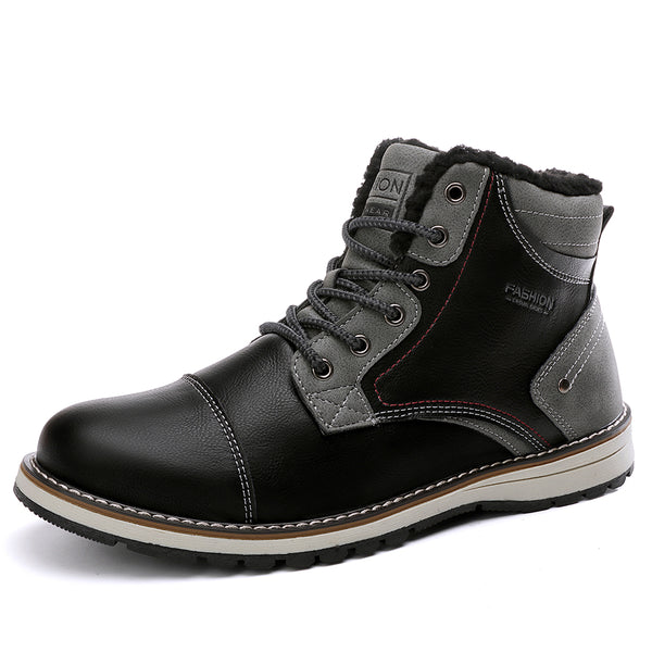 Men Outdoor Waterproof Warm Lining Slip Resistant Lace Up Ankle Boots