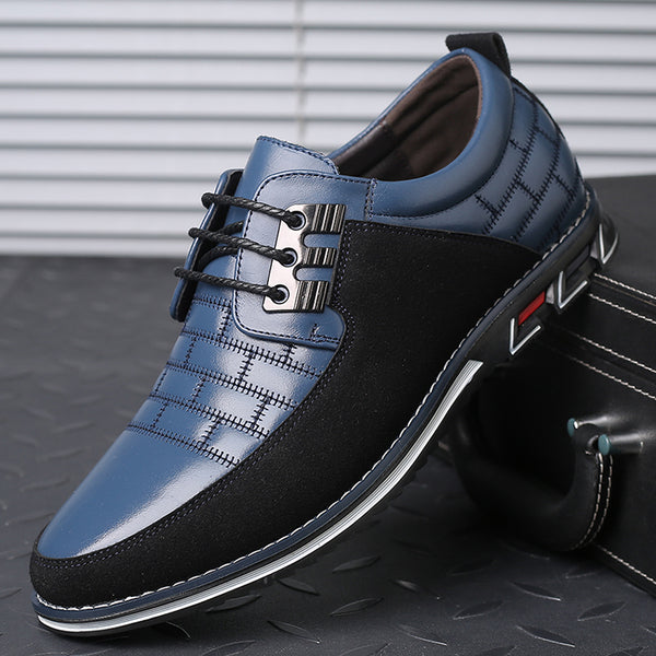 Men Leather Splicing Non Slip Metal Decoration Soft Sole Casual Shoes