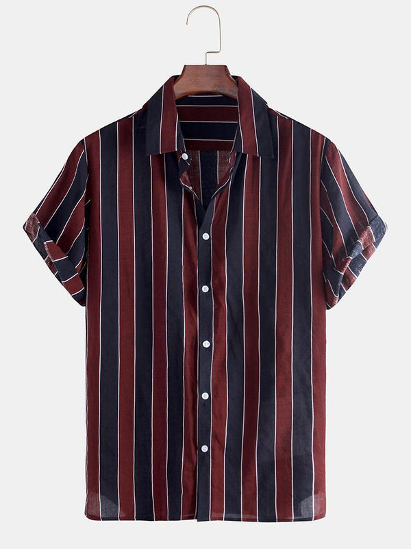 Mens Casaul Colorful Striped Print Notch Collar Short Sleeve Shirts