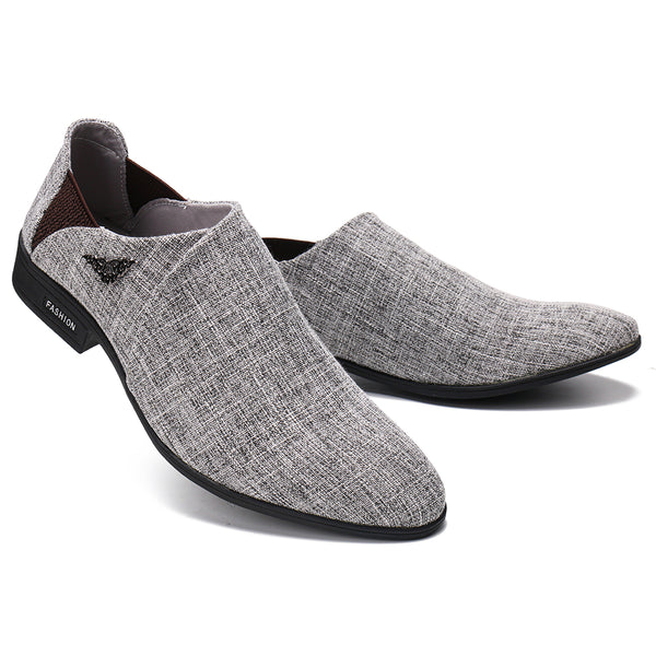 Men British Style Cloth Metal Decoration Slip On Casual Formal Shoes