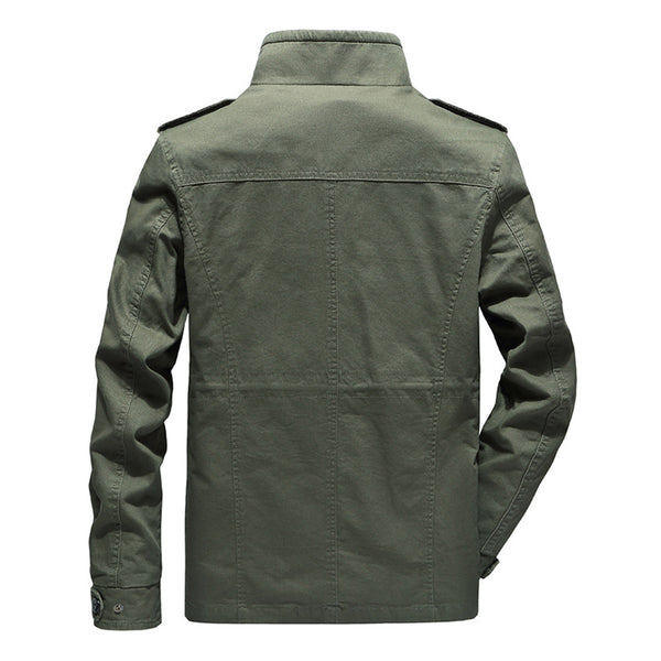 Men's Casual Military Multi Pockets Epaulettes Solid Color Washed Outdoor Tooling Jacket