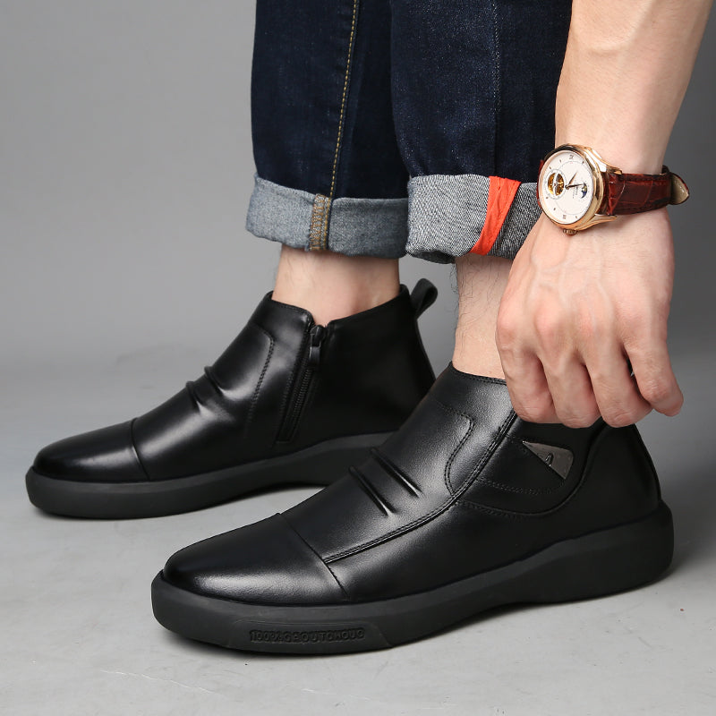 Men Vintage Comfy Round Toe Slip Resistant Slip On Casual Ankle Boots