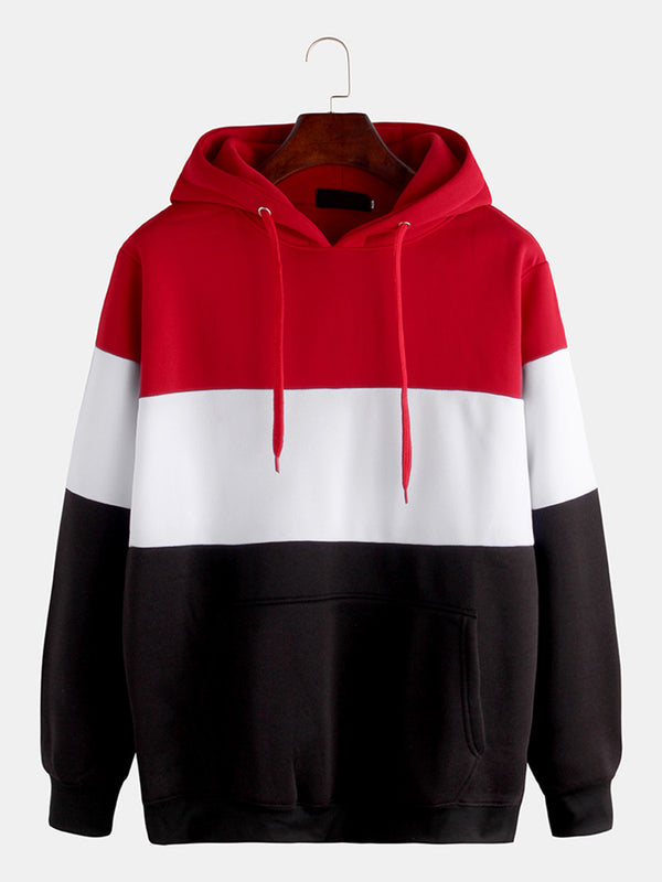 Mens Brief Style Hit Color Warm Casual Hoodies