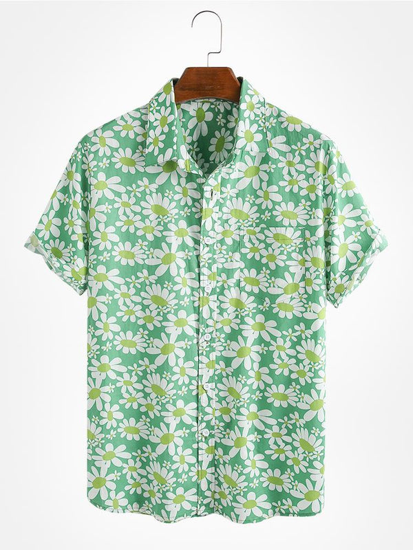 Daisy Ditsy Floral Printed 100% Cotton Holiday Shirt For Men Women
