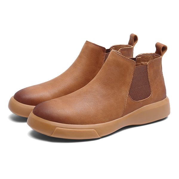 Men Genuine Leather Non Slip Elastic Panels Slip-ons Casual Ankle Boots