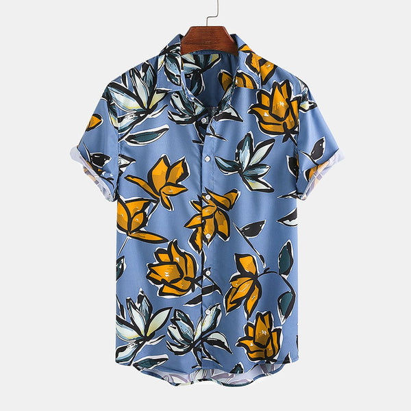 Mens Vintage Floral Printed Casual Lapel Collar Short Sleeve Shirts