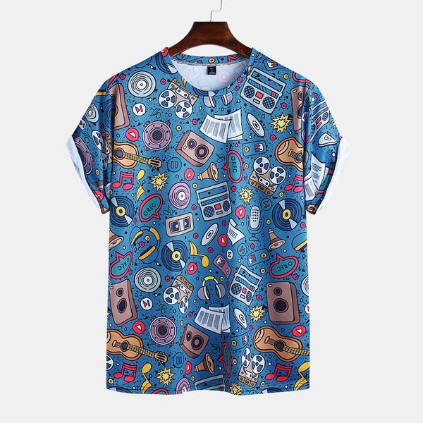 Mens Funny Cartoon Printed Round Neck Short Sleeve Loose T-shirts