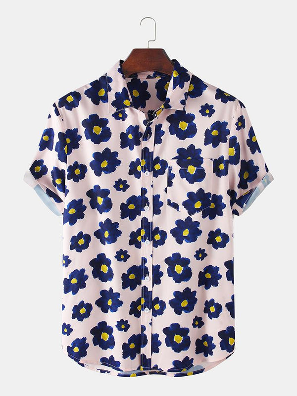 Mens Holiday Floral Printed Short Sleeve Chest Pocket Shirt