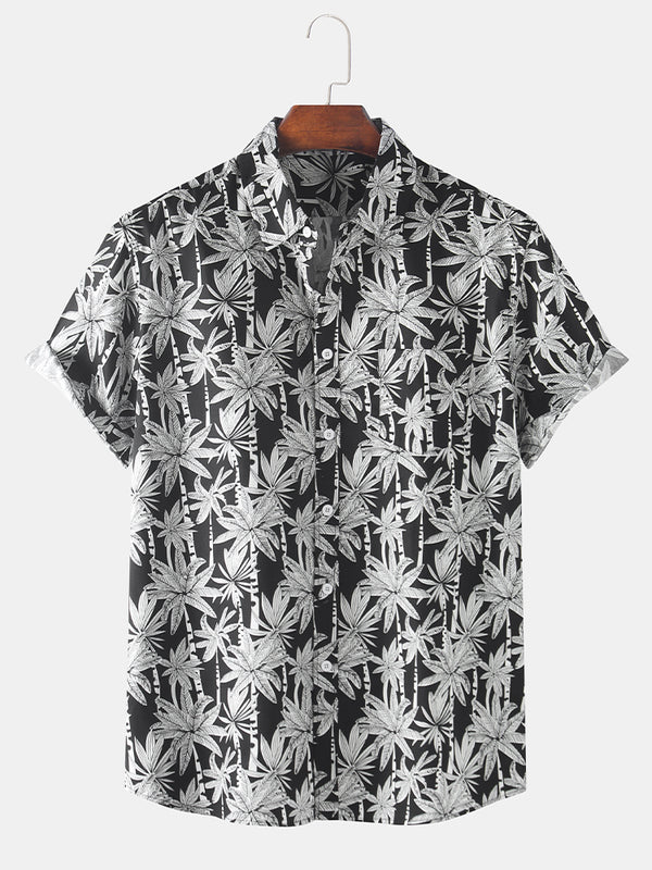 Mens 100% Cotton Tropical Coconut Tree Overall Printed Holiday Short Sleeve Shirt