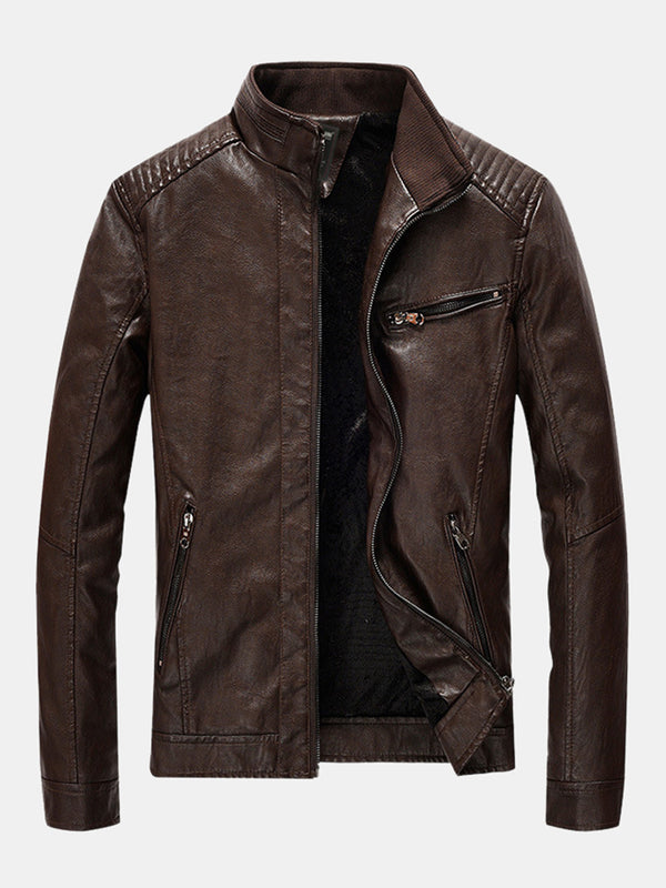 Mens Fashion PU Leather Multi Pockets Long Sleeve Stand Collar Slim Fit Jackets