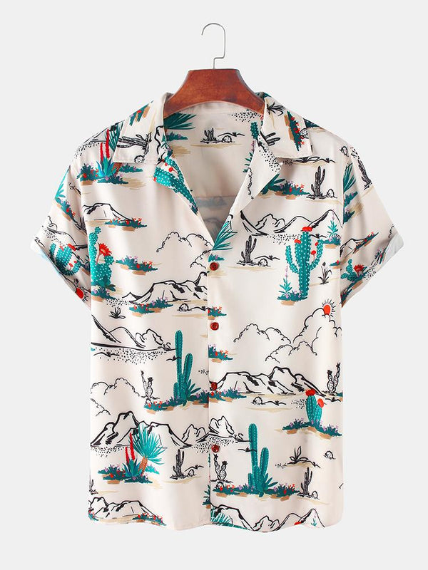 Men Cactus Desert Printed Casual Shirts