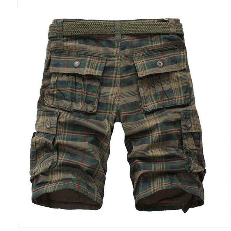 Mens Summer Multi-pocket Cotton Breathable Plaid Knee Length Casual Shorts