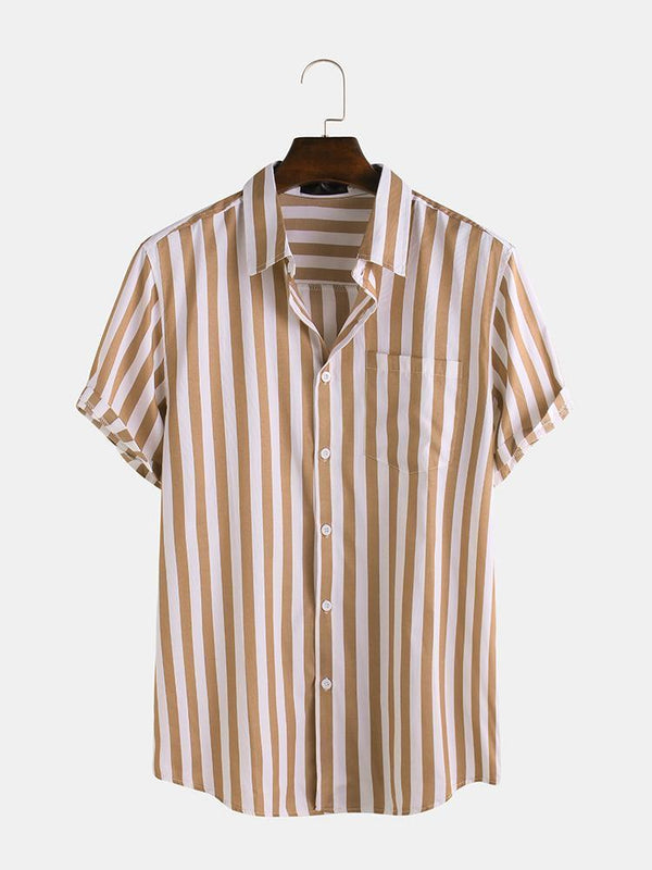 Mens Brief Style Stripe Printed Casual Breathable Short Sleeve Shirts