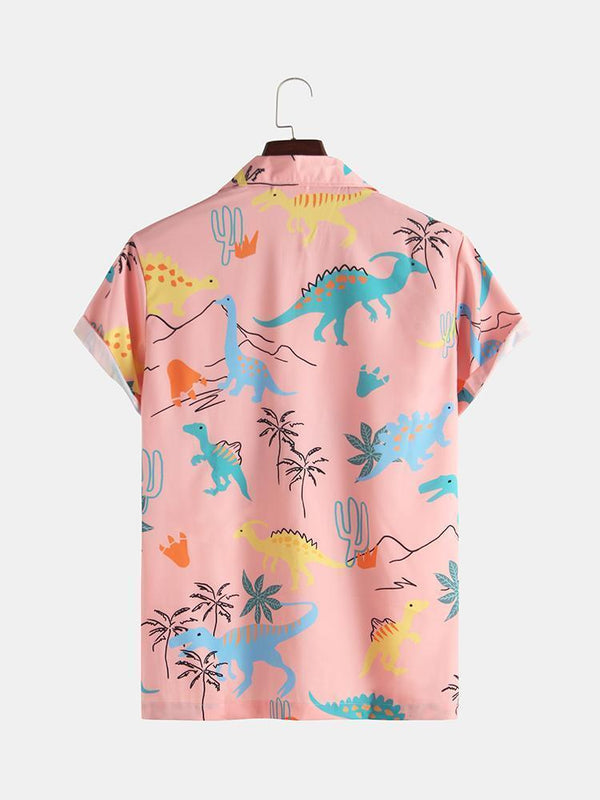 Mens Funny Style Dinosaur Cartoon Printed Short Sleeve Shirts