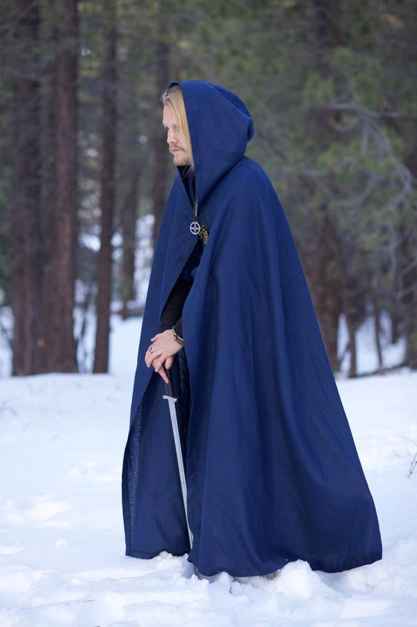 Linen Viking Hooded Cloak