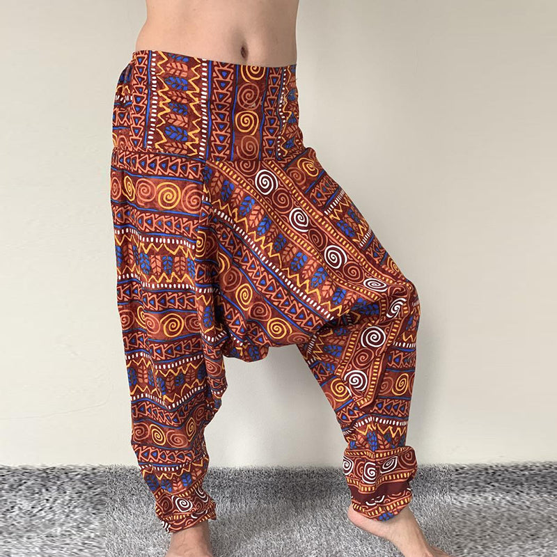 Mens Printed Ethic High Waist Wide Leg Loose Baggy Harem Pants