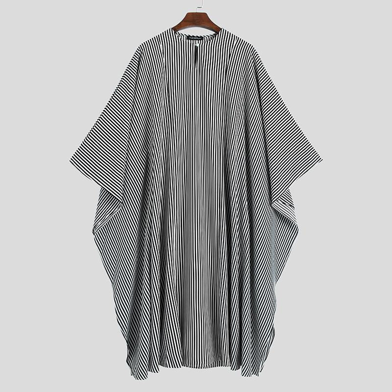 Mens Bat Sleeve Formal Party Shirt Loose Striped Dress African Ethnic Kaftan Top