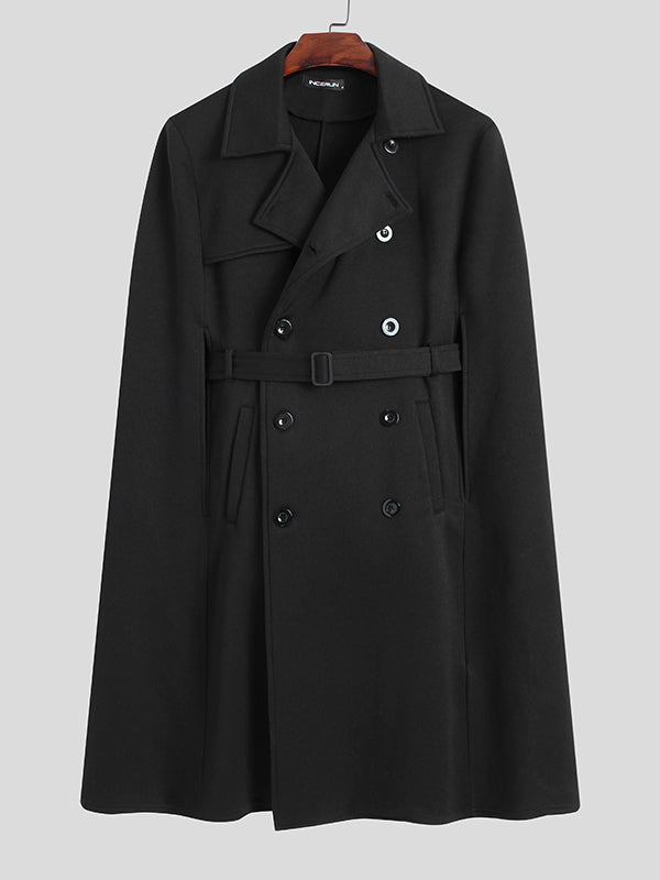 Mens Lapel Loose Mid-length Warm Cloak Coat SKUG86242