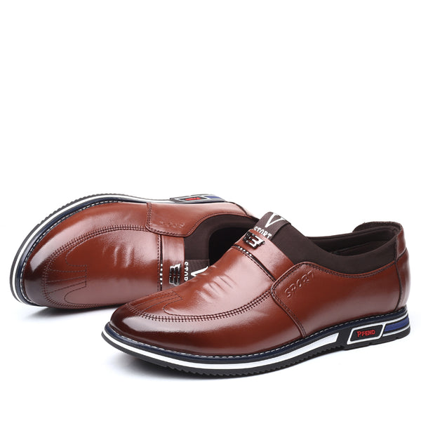 Men Leather Non Slip Soft Sole Slip On Business Casual Shoes SKUG47254