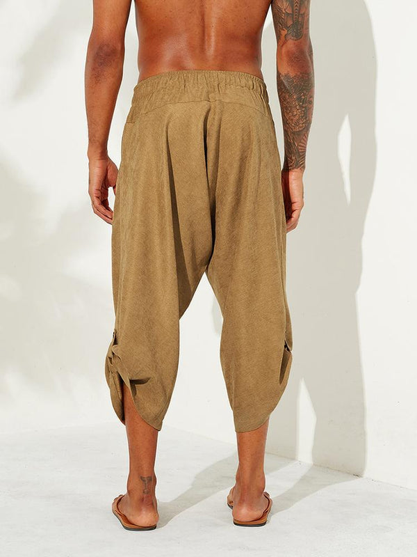 Mens Corduroy Casual Ethnic Style Calf-Length Loose Drawstring Harem Pants