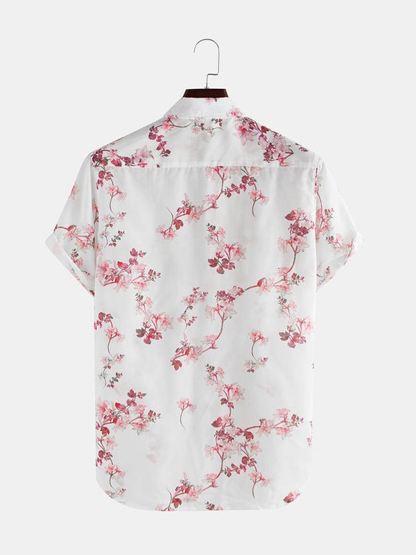 Mens Summer Breathable Loose Short Sleeve Lapel Flowers Shirt