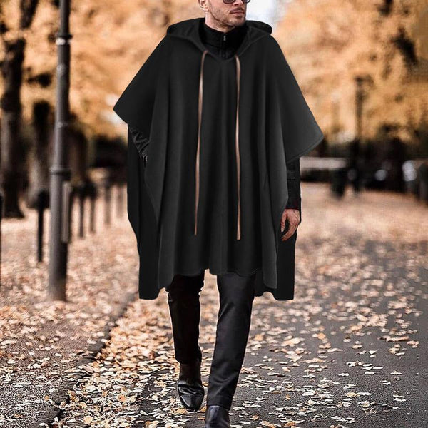 Mens Hooded Fleece Poncho Cloak Cape Coat Trench Loose Parka Long Jacket Tops