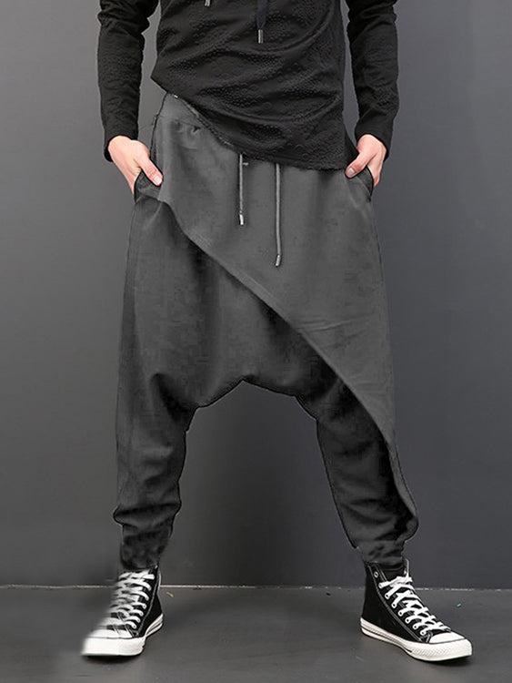 Mens Casual Loose Fit Dropped Crotch Pants Loose Hiphop Baggy Harem Trousers  SKU855425