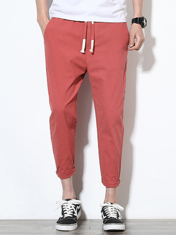 Mens Cotton Linen Solid Color Slim Fit Casual Pants