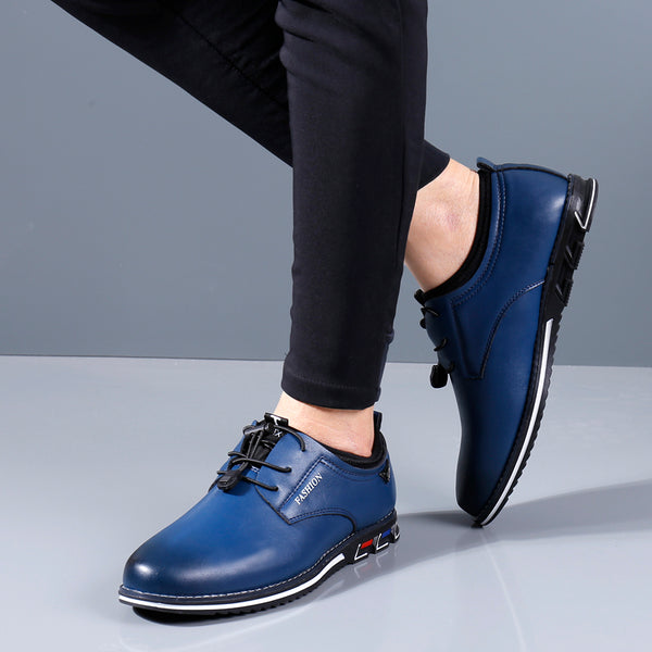 Men Elastic Lace Up Comfy Business Casual Leather Shoes