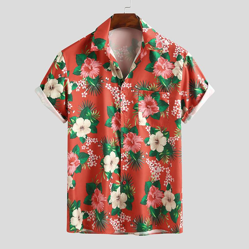 Mens Floral Print Holiday Casual Short Sleeve Shirts