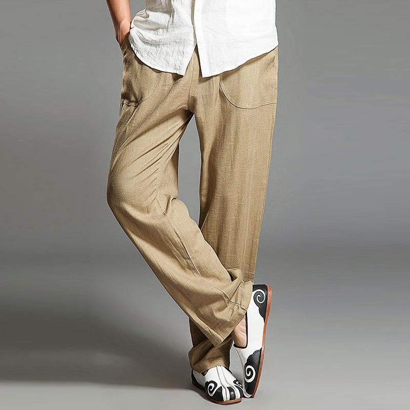 Mens Linen Loose Straight Leg Trousers Causal Baggy Holiday Long Pants