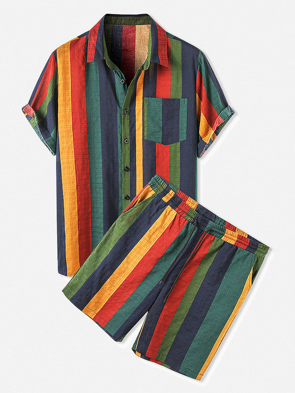 Men Thin & Breathable Cotton Outfits Sets Colorful Stripe Holiday Short Sleeve Two Pieces