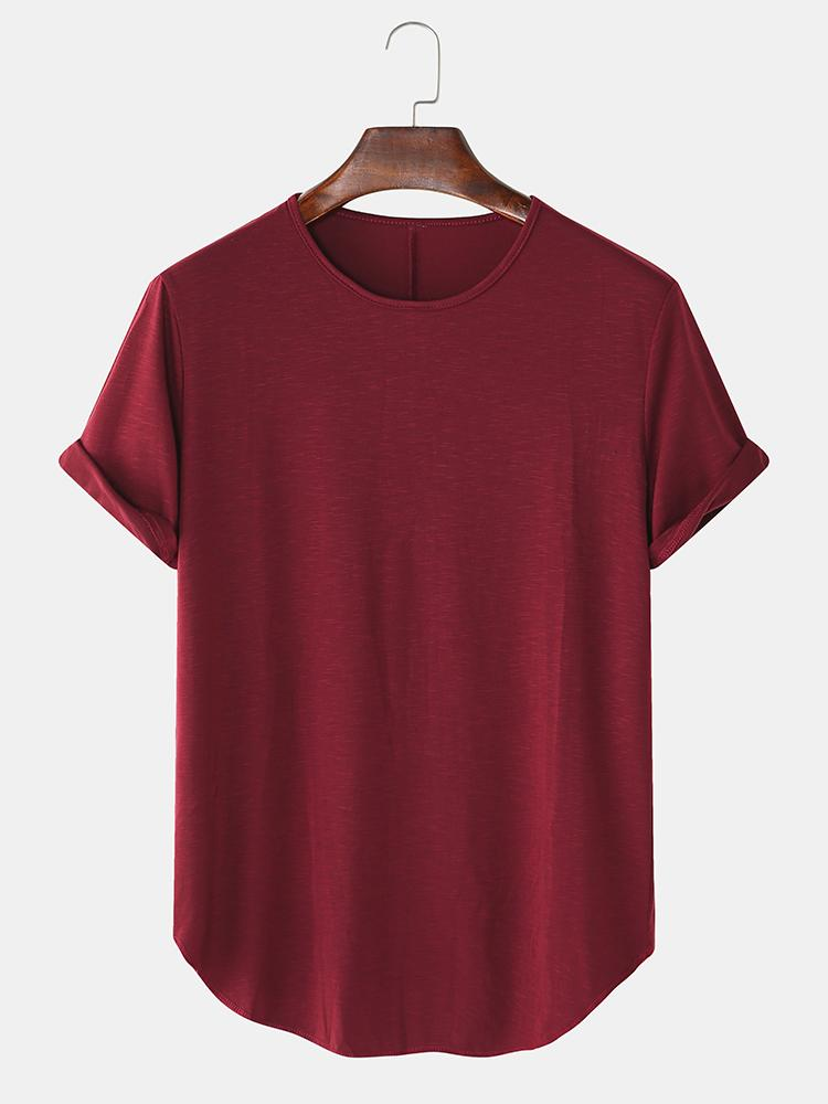 Mens Solid Color Breathable & Thin Loose Casual O-Neck T-Shirts