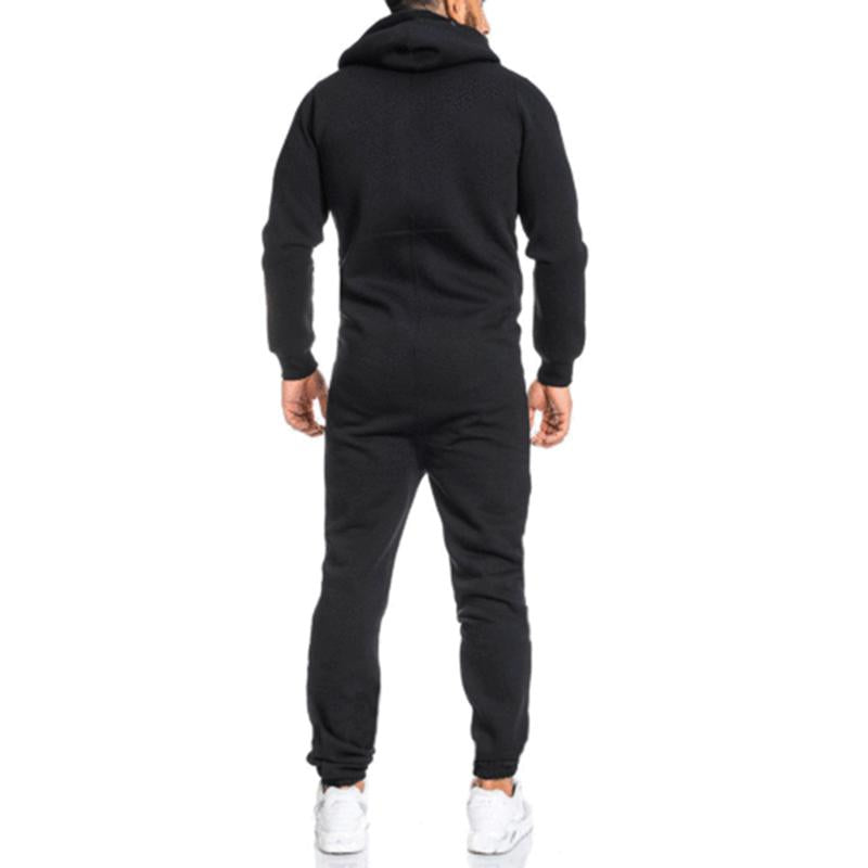 Mens Long Sleeve Hooded Printed Jumpsuit Sports Warm Rompers Hoodies Overalls SKUF61869