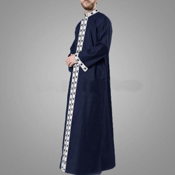 Mens Long Sleeve Printed Kaftan Ethnic Style Thobe Robe Tunic