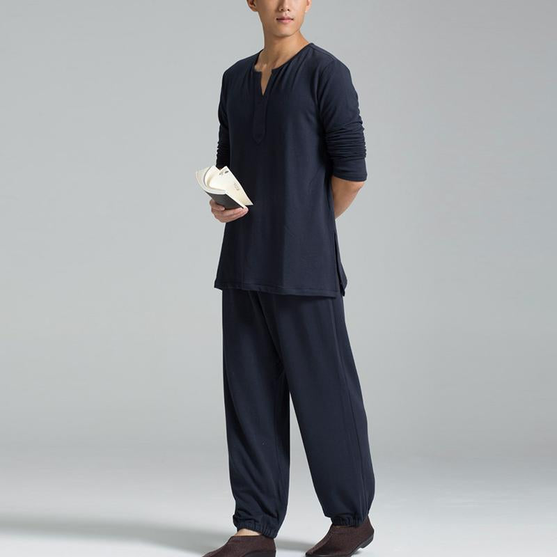Mens Long Sleeve T Shirts Pants Tang Suit Casual Loose Suits Soft Loungewear Set
