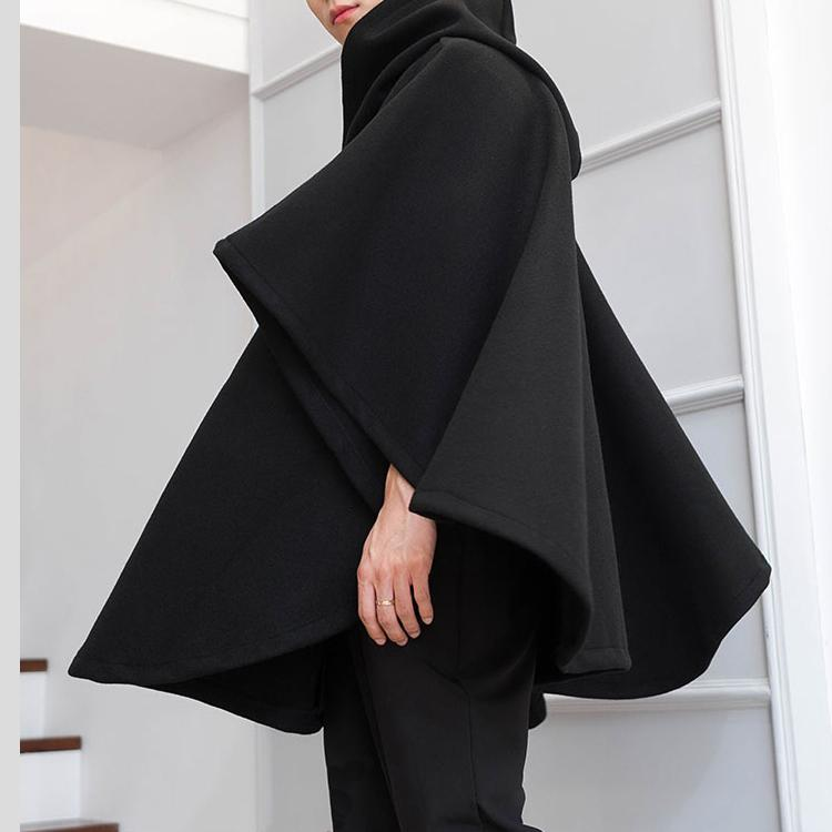 Mens Hooded Cape Poncho Long Cardigan Cloak Hipster Gothic Punk Cape Coat Tops