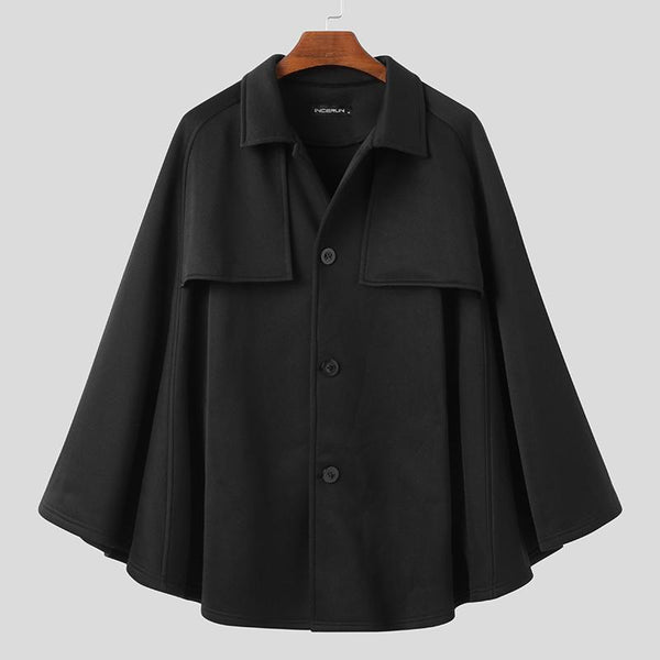 Mens Punk Long Cloak Cape Coat Poncho Single Breasted Outwear Top Shirt Overcoat
