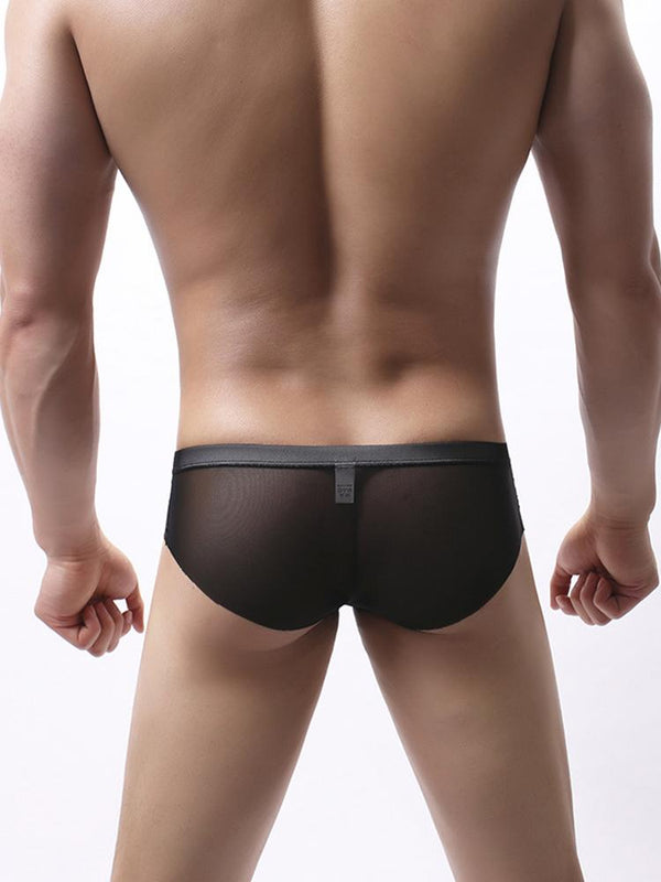Mesh Sexy See-Through Briefs Breathable Solid Color U Convex Underpants