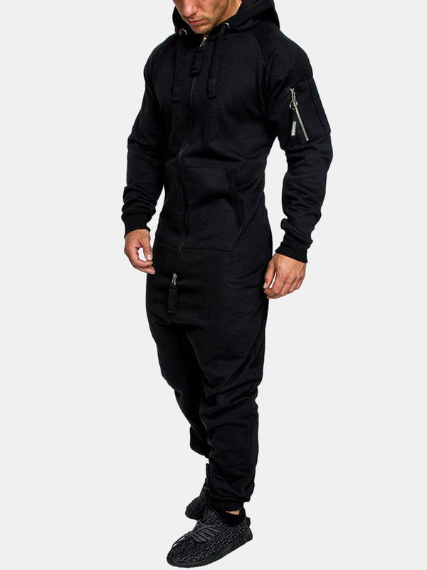 Mens Hooded Jumpsuit One Piece Overall Double Open Zip Up Jogger Sweatsuit