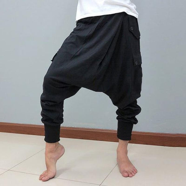 Mens Casual Harem Trousers Loose Baggy Hippy Long Pants Bottoms