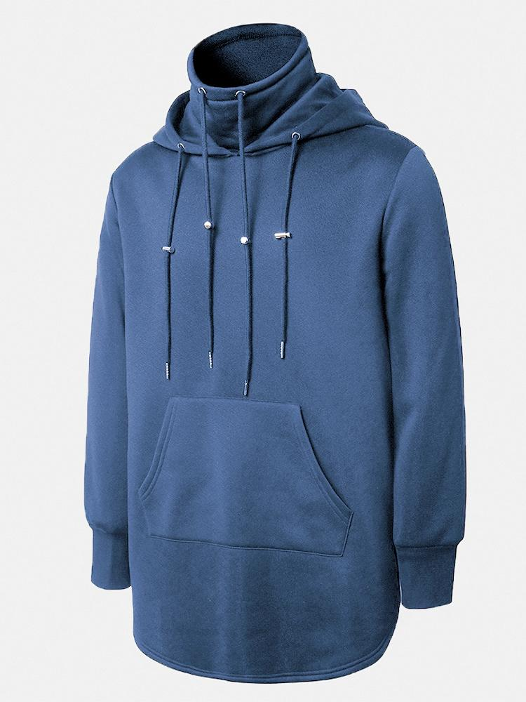 Mens Casual Drawstring Solid Color Long Sleeve Hoodies