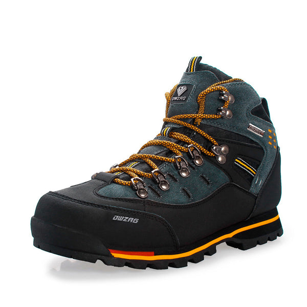 Men Outdoor Slip Resistant Lace Up Leather Hiking Boots