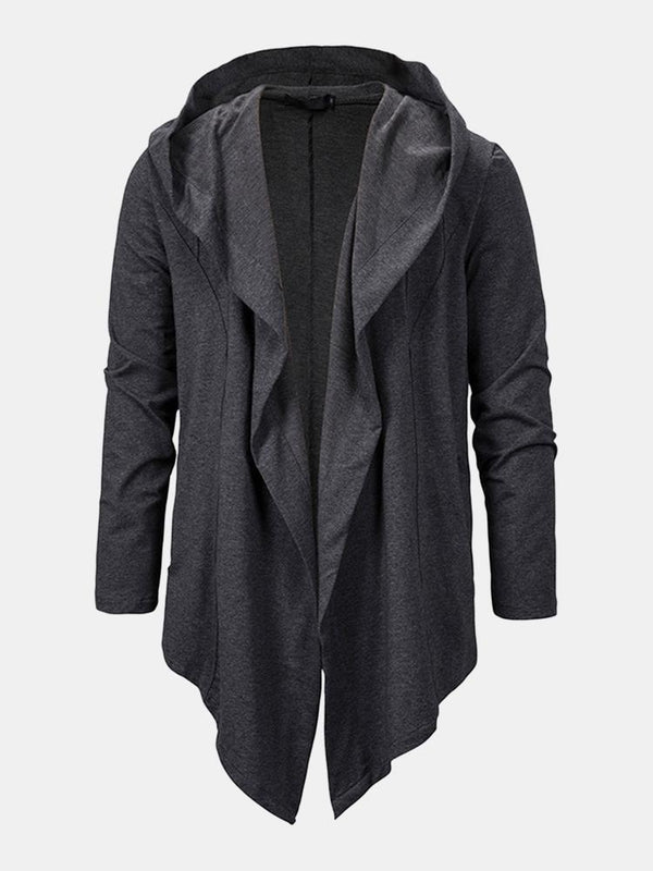 Men's Hooded Cardigan Dark Black Long Irregular Loose Jacket