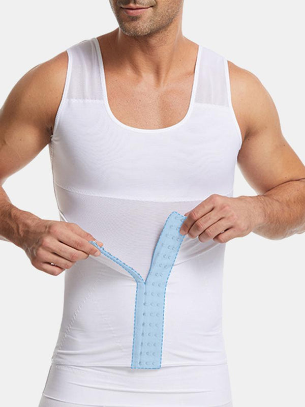 Men Body Control Hasp Abdomen Control Breathable Mesh Shaper Vest X Back Shapewear Undershirts