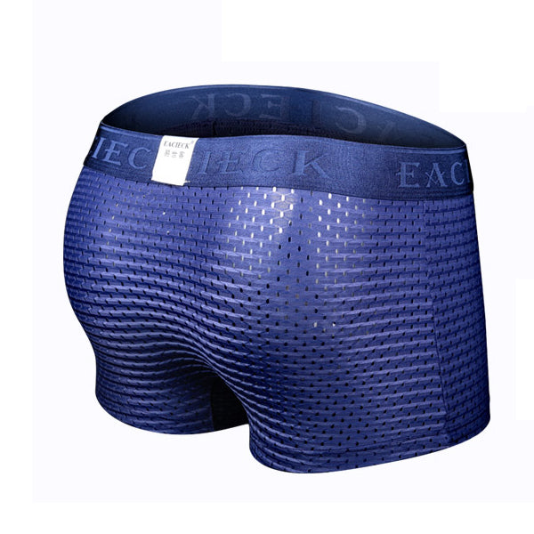 Mens Sexy Thin Ice Silk Underwear Mesh Holes Breathable Stretch U Convex Soft Boxer Briefs